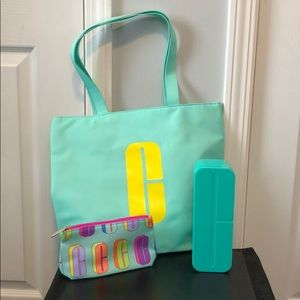 """Clinique NWT tote, makeup bag and """"C"""" storage box"""